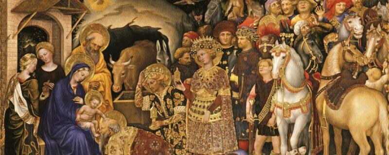 Particolare dell'Adorazione dei Magi di Gentile da Fabriano. I re Magi arrivano da Gesù e lo adorano. Opera immancabile nella visita alla galleria degli Uffizi