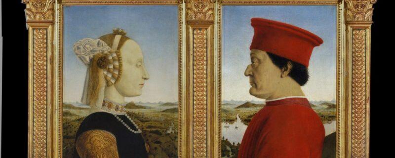 I Duchi di Urbino di Piero della Francesca è una delle opere più iconiche degli Uffizi. Federico da Montefeltro e sua moglie Battista Sforza raffigurati di profili con un paesaggio in prospettiva sullo sfondo
