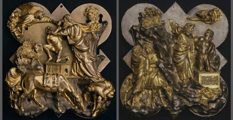 Panels by Filippo Brunelleschi and Lorenzo Ghiberti