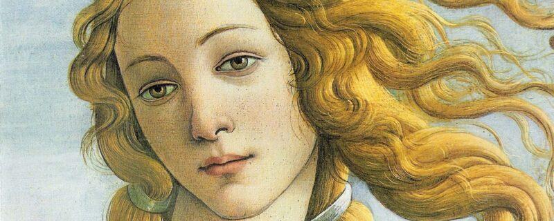 Particolare del volto della Venere ne La nascita di Venere del Botticelli. L'opera più famosa del museo imprescindibile in ogni visita alla Galleria degli Uffizi
