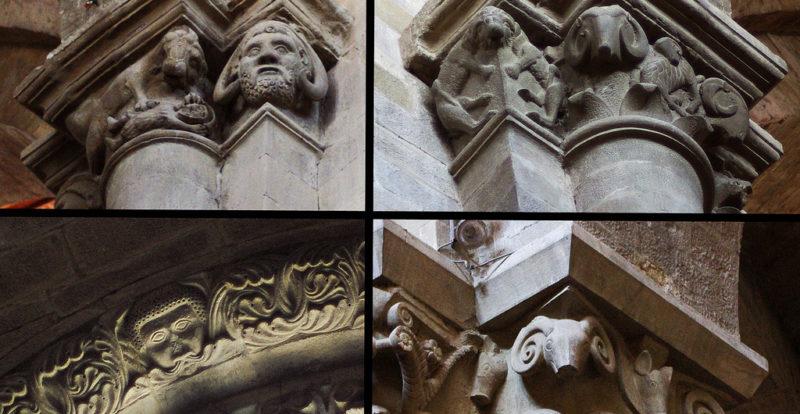 Particolari dei capitelli nella Pieve di Santa Maria