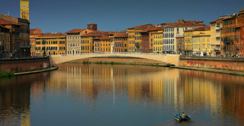 View along the Arno river in Pisa