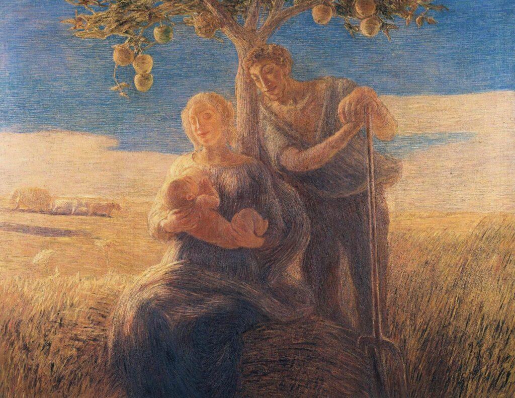 nell'immagine vediamo una riproduzione del quadro di Gaetano Previati intitolato Georgica del 1905. La tecnica è olio su tela. Al centro si vedono un uomo in piedi appoggiato ad un albero con un forcone in mano e una donna seduta accanto mentre allatta un bambino. Sullo sfondo si vedono dei campi di grano e degli animali al pascolo. Il cielo è azzurro con nuvole bianche all'orizzonte. Il quadro esprime gioia e calma. Le figura ricordano una Sacra Famiglia