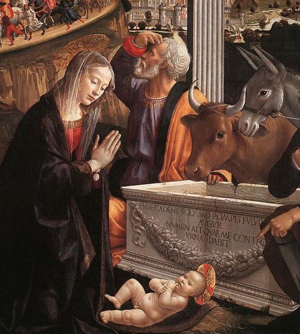 Nell'immagine vediamo un particolare del quadro di Domenico Ghirlandaio intitolato l'Adorazione dei Magi. In basso c'è gesù bambino appoggiato sul mantello della madre. Maria è in preghiera davanti a gesù bambino. San Giuseppe è appoggiato ad un sarcofiago antico aperto e vuoto al centro dell'immagine. San Giuseppe si sta voltando verso l'alto e con la mano destra si copre la luce per meglio vedere verso il cielo. Sulla destra si vedono le teste del bue e dell'asinello