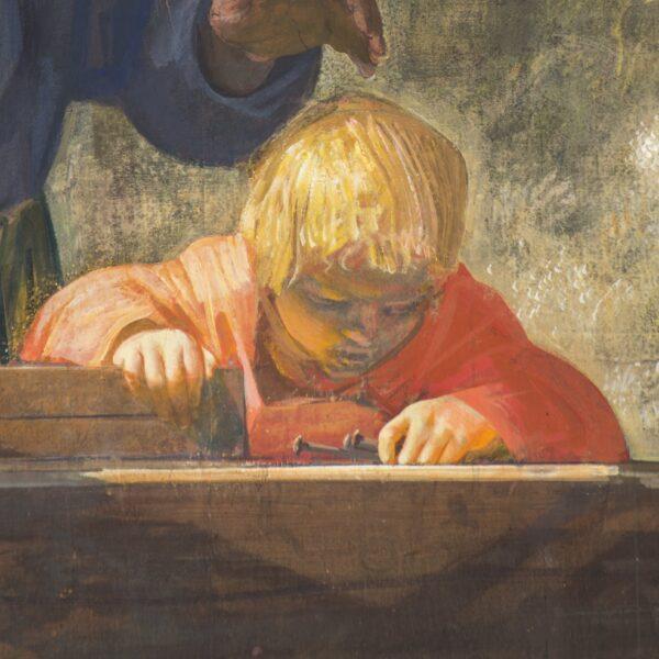 Particolare del quadro San Giuseppe falegname di Annigoni. Al centro la chioma bionda di Gesù bambino illumina la scena. Sulla testa del piccolo la mano di Giuseppe sta per dargli una carezza. Gesù ha nella mano sinistra dei chiodi e posa la destra su di una asse di legno appoggiata sul tavolo da lavoro del babbo