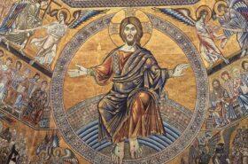 Nell'immagine si vede un porticolare del Giudizio Universale nei mosaici del Battistero. Cristo giudice con a destra i beati e in basso a sinistra i dannati