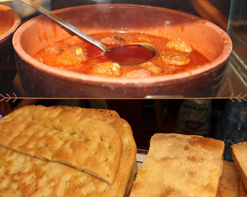 nell'immagine polpette e schiacciata cernacchino e maledetti toscani street food dove mangiare bene a Firenze