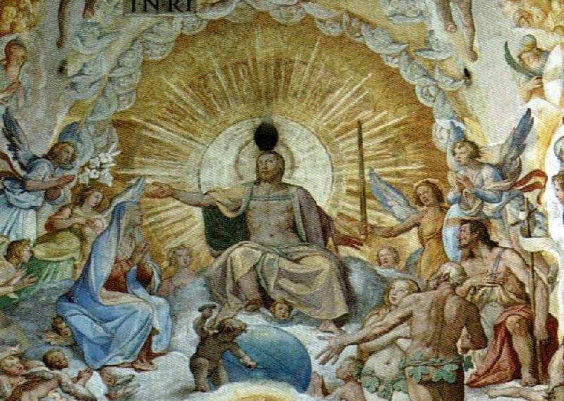 Dettaglio del Giudizio Universale eseguito ad affresco da Giorgio Vasari e Federico Zuccari all'interno della cupola del Duomo di Firenze. A dominare il centro del settore Est troviamo la figura di Cristo-Sole
