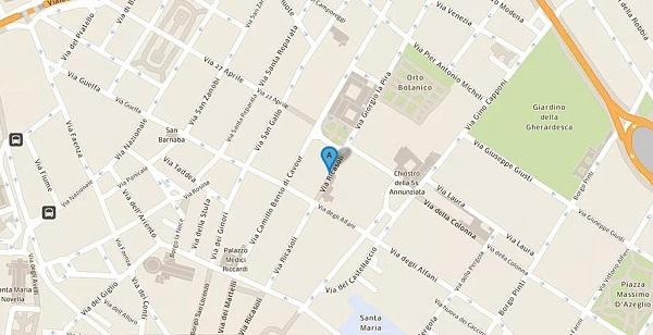 nell'immagine si vede la mappa di firenze con l'indicazione di via ricasoli dove si trova la galleria dell'accademia