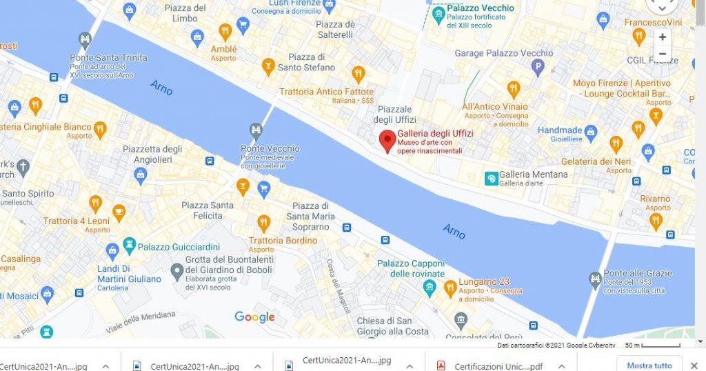 nell'immagine si vede la mappa di firenze con la galleria degli uffizi indicata in rosso