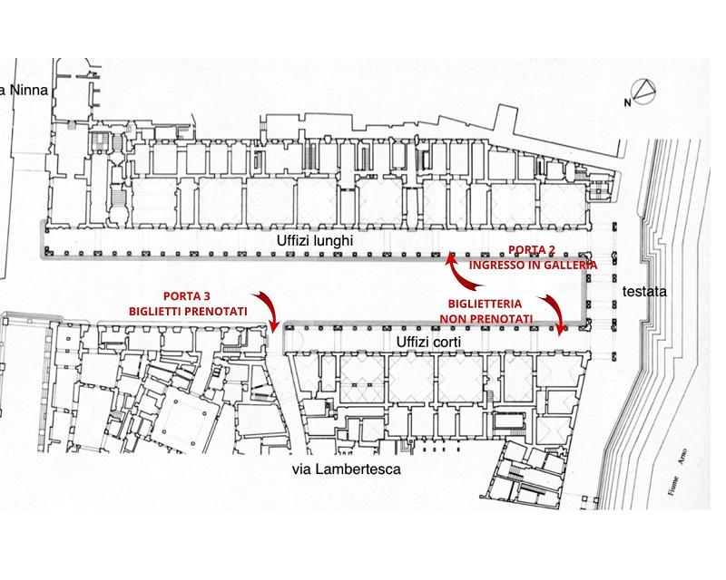 nell'immagine si vede la pianta del porticato degli uffizi con la localizzazione di biglietterie e ingresso alla galleria